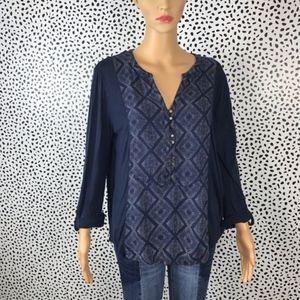 Lucky brand navy blue blouse size medium